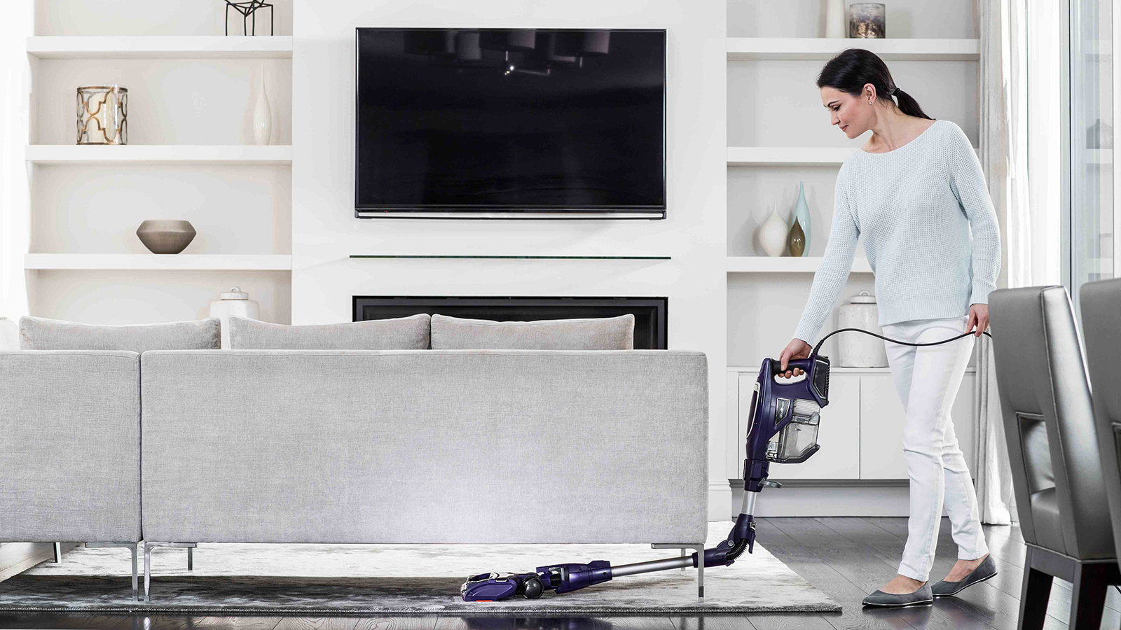 Under Furniture Cleaning with Shark DuoClean Corded Stick Vacuum Cleaner